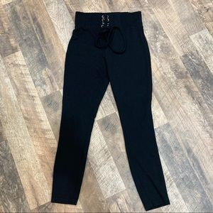 NBD Revolve Lace Up High Rise Skinny Pull On Pants
